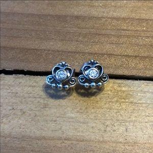 Pandora my princess tiara crown stud earrings